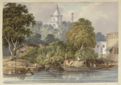 The Catholic church at Bandel, near Hooghly, in the middle distance, buildings on the river bank and boats in the foreground.